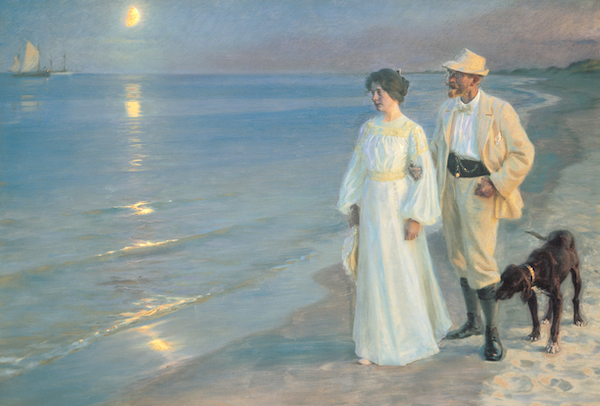 This painting by peder Severin, Denmark's most famous impressionist painter, reminds me of the evenings we experienced - you could see the moon but there was still waning daylight until almost 11:00 pm