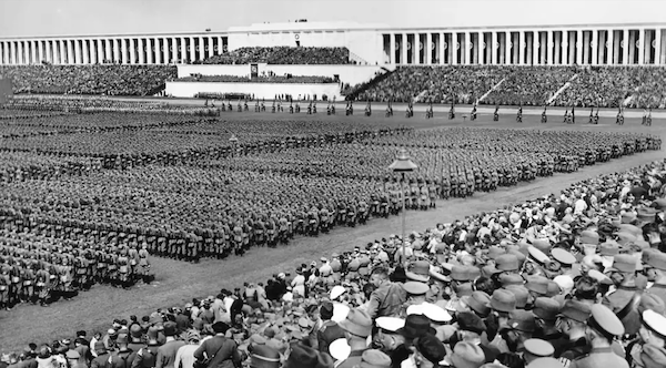 A Nazi rally held in 1936. Just one of the thousands of images along with documents and videos available at the Nuremberg Documentation Centre. The German government doesn't hide from their history.