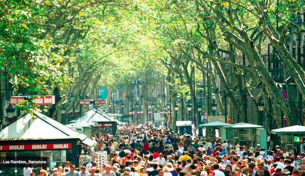 La Rambla in summer. More like an obstacle course that a tree lined path through the heart of the city!