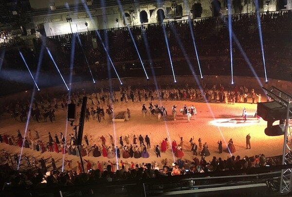 The show in the Roman Amphitheatre had it all. Lights, lasers, gladiators, horses, ships and dragons!