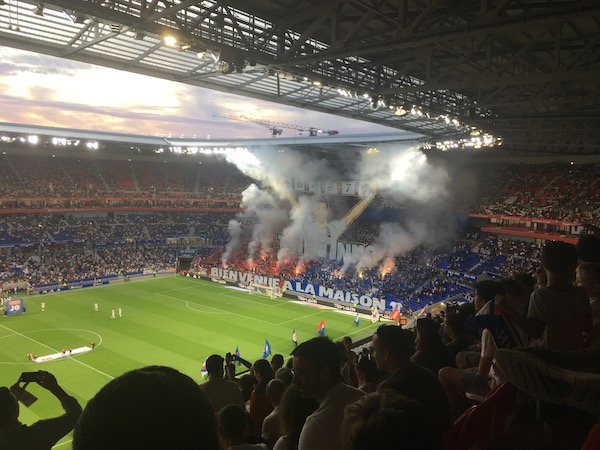 Just your average fan enthusiasm at a Olympic Lyonnais football match!