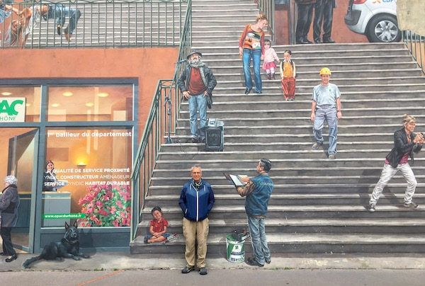Here's Mr. Campbell for scale purposes in front of The Canuts Mural. We saw it on a daily basis but there was always something new to discover.