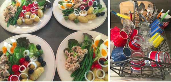 We were so intrigued by Paul that we invited him and his girlfriend to dinner. I made market-inspired Salad Niçoise, and created a pile of equally colorful dishes for Michael to do afterward!