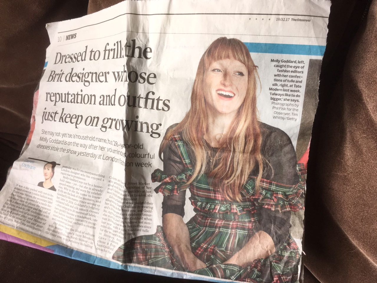 Molly Goddard in the press - featured in The Observer to high acclaim following her LFW showing