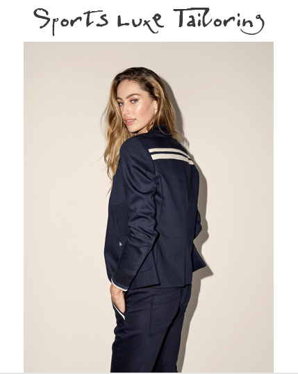 MOS MOSH CLUB GRACE BLAZER NAVY | £199  MOS MOSH LEVON GRACE JOGGERS NAVY £119  This sports luxe suit ended up being one of our best sellers for 2017 and it has returned for spring 2018 in navy with added stripe details. An absolute favourite of all of us at SB HQ - we've worn each piece separately, together with a white t-shirt underneath, the joggers with heels and a vest for drinks and the jacket with boyfriend jeans and white trainers. This is definitely a buy it now... regret it never type of purchase!