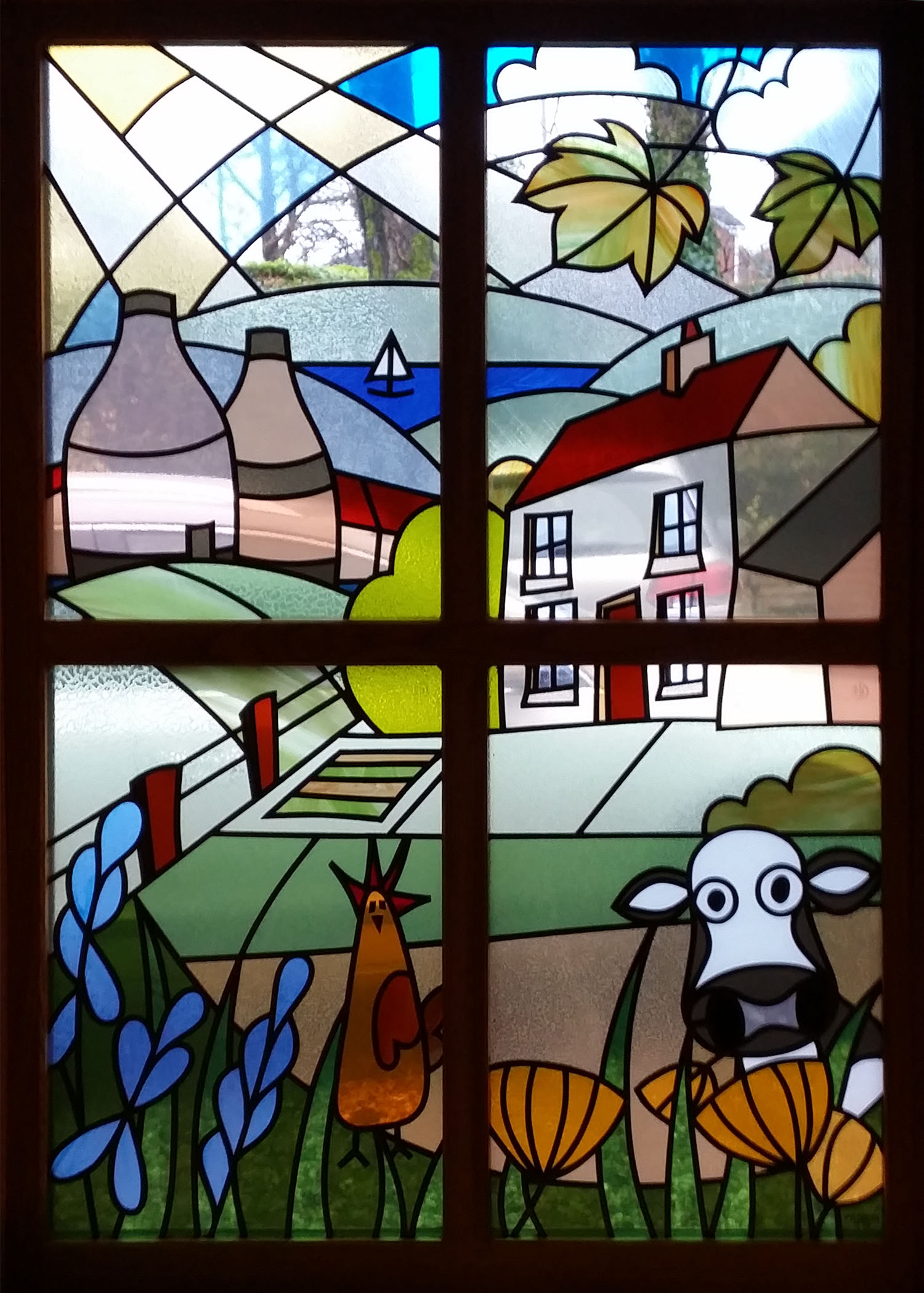 Cow and Hen Potteries Scene