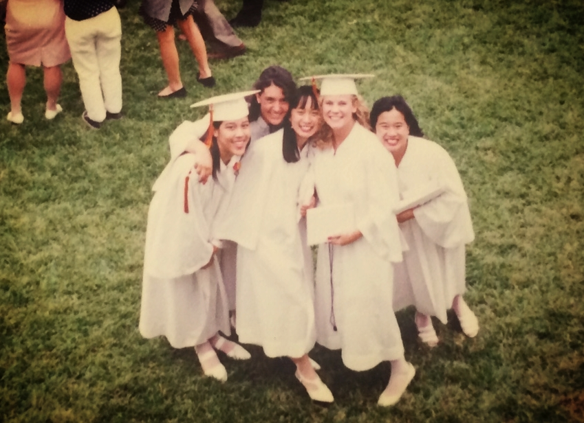 Dr. Melanie Bookworm at her high school graduation with her friends.  Posted with permission, of course.