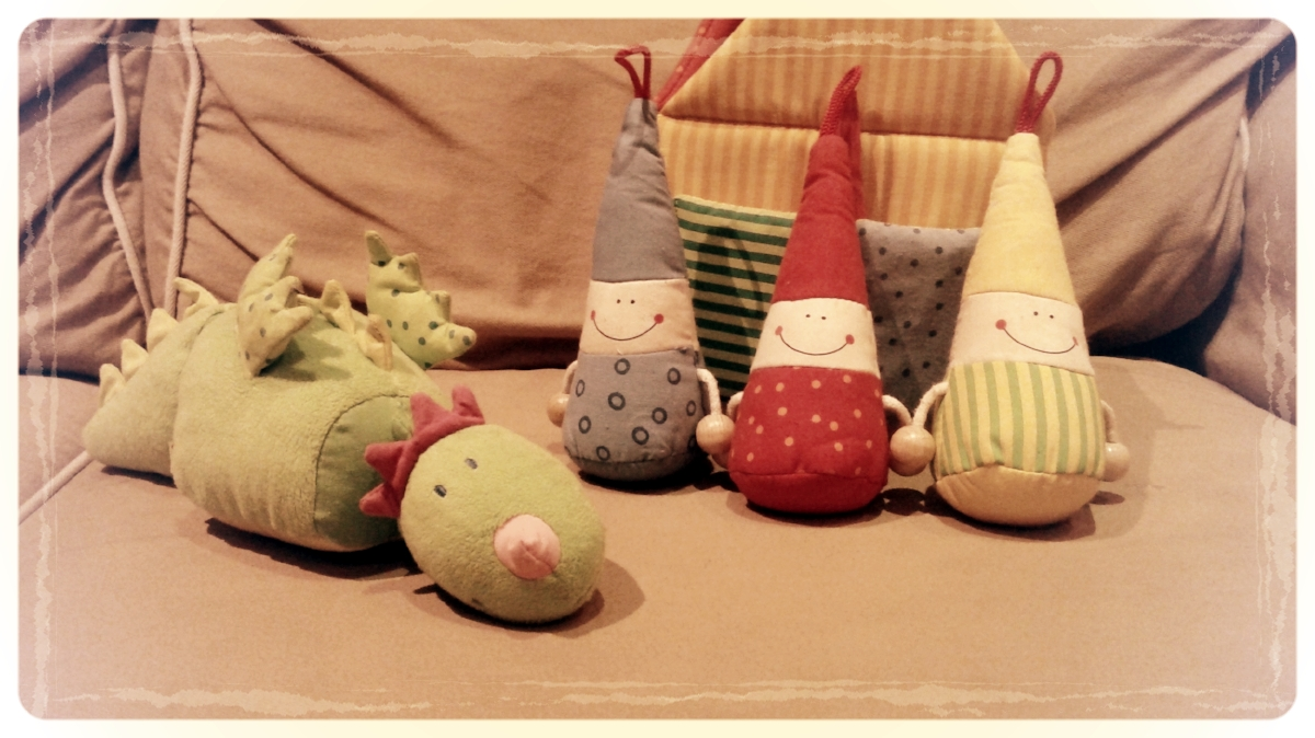 Some of our favorite Haba soft toys--goblins and a dragon