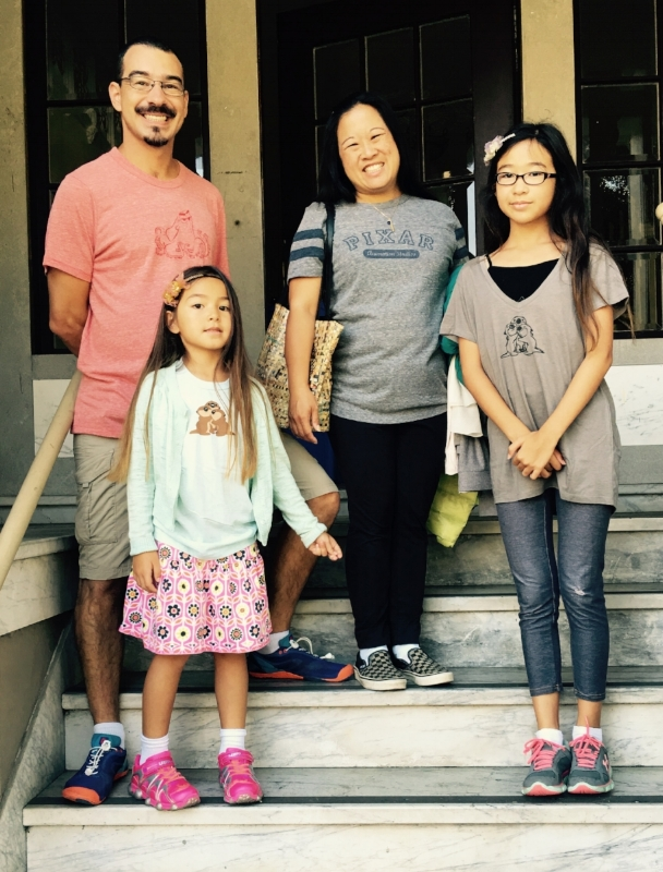 Dr. Melanie's family in their official Pixar shirts after visiting the studio. (posted with permission)