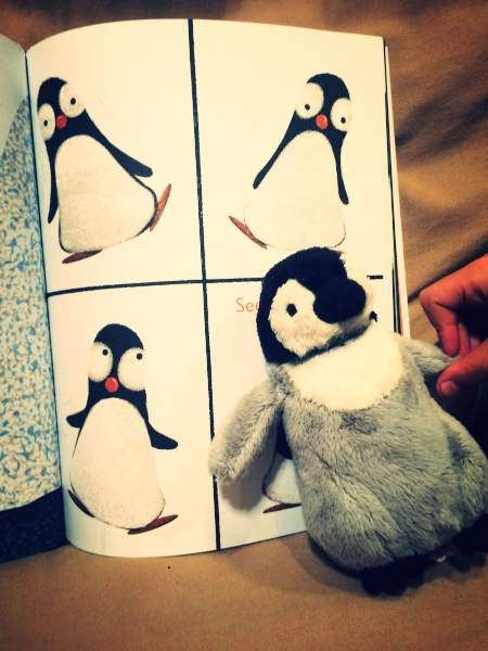 Little Lion demonstrates how the penguin in  Penguin Problems  does not look good waddling, as he says so himself.