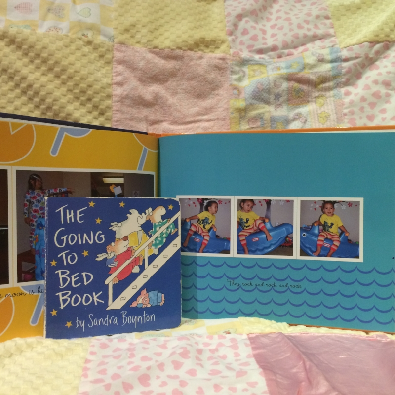 Our two versions of  The Going to Bed Book  by Sandra Boynton. Bedtime favorites surround Lotso Bear (from Toy Story) in thumbprint photo.