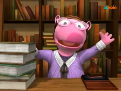 Uniqua from The Backyardigans as a librarian. From Nick Jr.