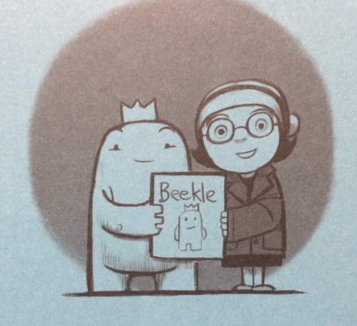 Beekle and Alice, from the end pages of  The Adventures of Beekle  by Dan Santat.