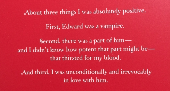 Excerpt from the back cover of the White Collection edition of  Twilight  by Stephenie Meyer
