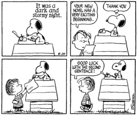 One version of Snoopy's 'dark and stormy night' riff.