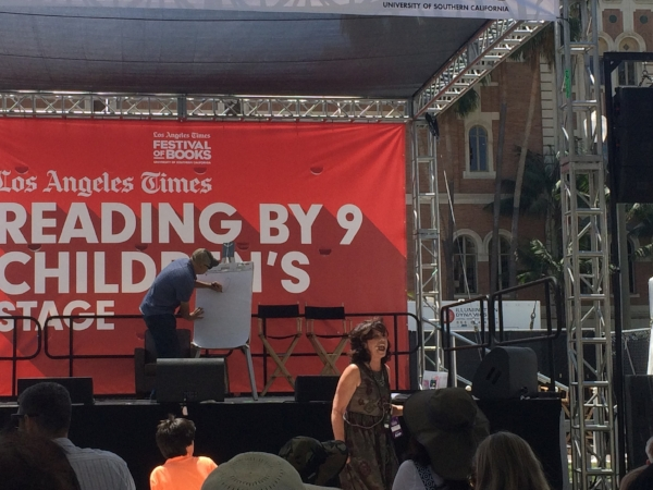 Gennifer Choldenko and Dan Santat at their reading of  Dad and the Dinosaur  at the LA Times Festival of Books in 2017. Santat also did a mini art lesson showing the crowd that illustration starts with shapes.