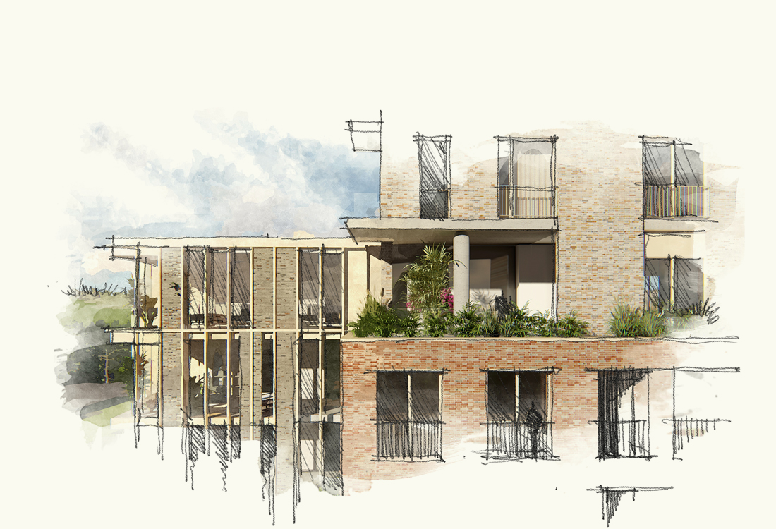 The linking building extends across the existing building to form a lightweight extension, whilst cutting into the new building to form a terrace. The link building has been designed to have a special foreign identity, a lightweight filigree structure with closing, void and brick infill.