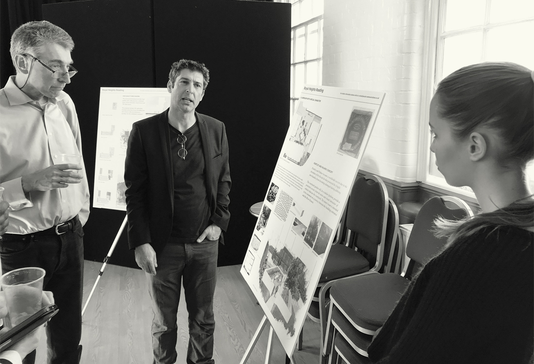 Akay presenting EAA's Royal Heights project to Cllr Tony Page and at a consultation event in Reading