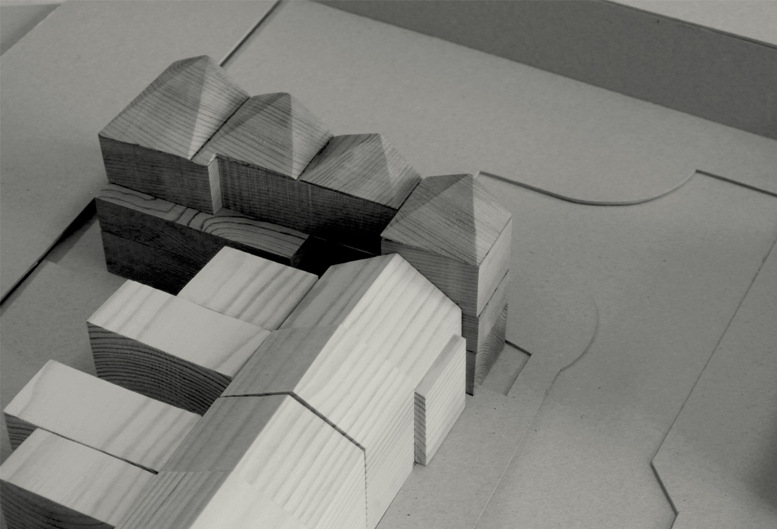 Study model showing the building stepping back from the terrace whilst maintaining a strong frontage to the north and street.