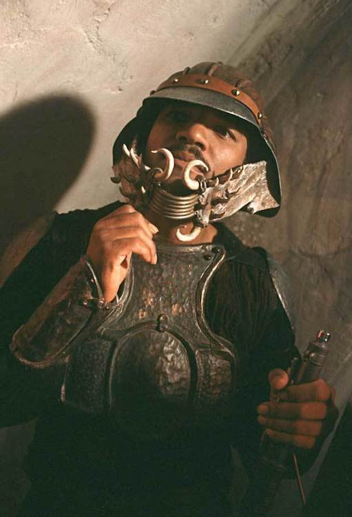 Calrissian disguised as a guard in Jabba's Palace. Image via   StarWars.com.