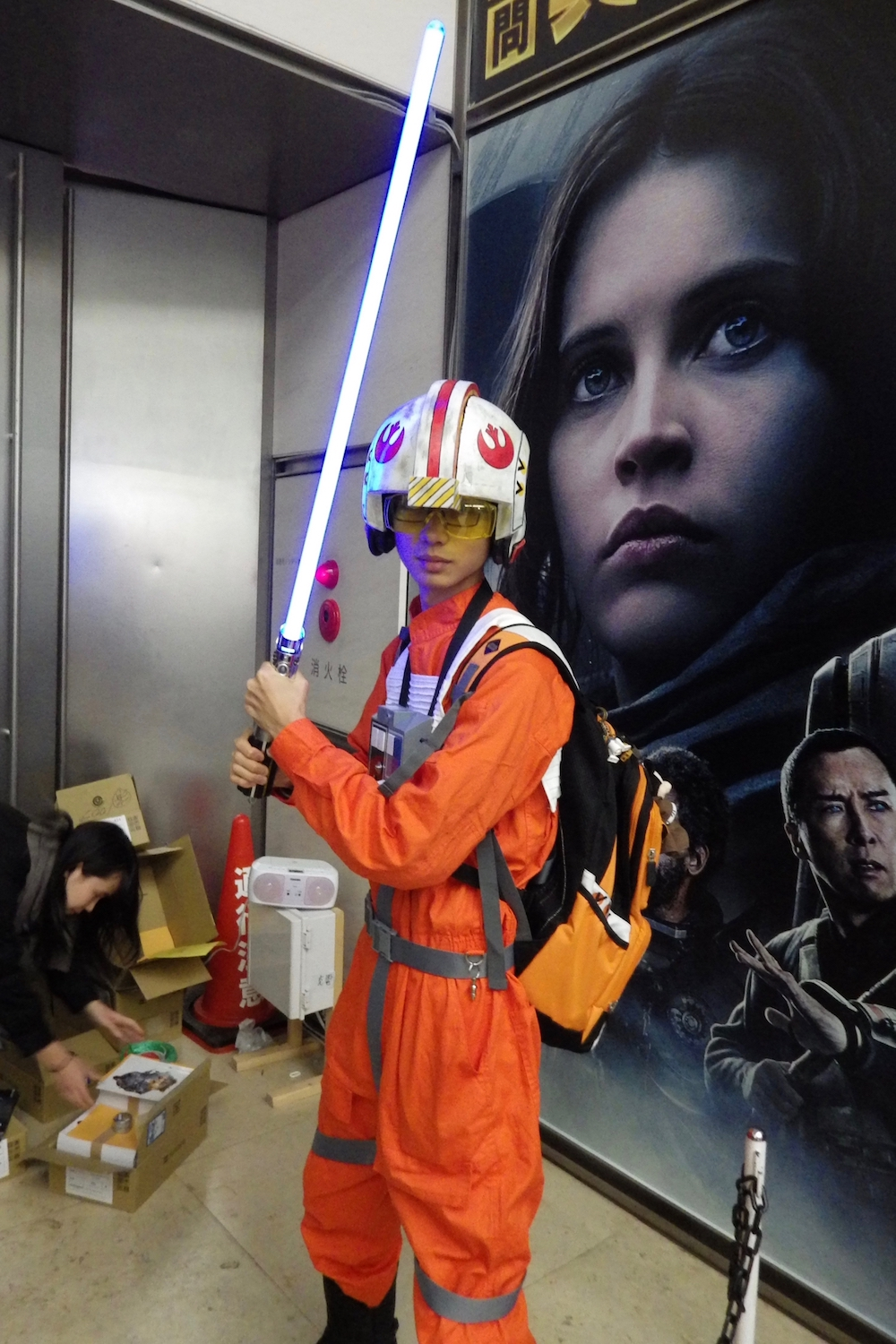 Another cosplayer at the  Mo Hitotsu no Star Wars Ten  exhibition in Shiodome, Tokyo.