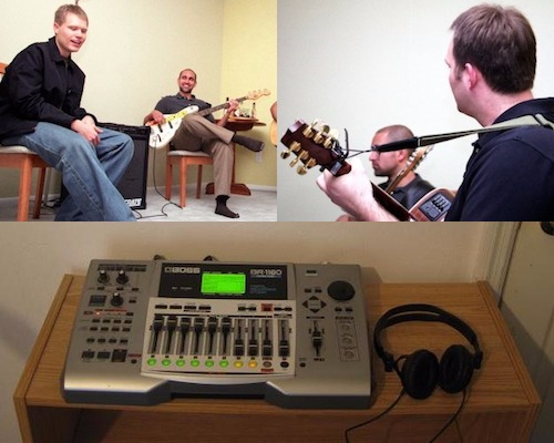 Clockwise, from top left: Avery Brightbill and Ash Treebeard, the back of Tito McCrum's head, and the 8-track digital recording studio the Sea Flats used to crank out their masterpieces.