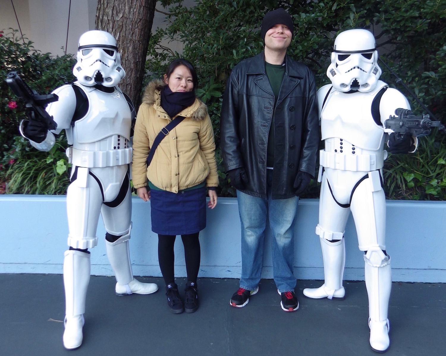 Brightbill with his girlfriend (real, not imaginary this time) and two Stormtroopers at Tokyo Disneyland.