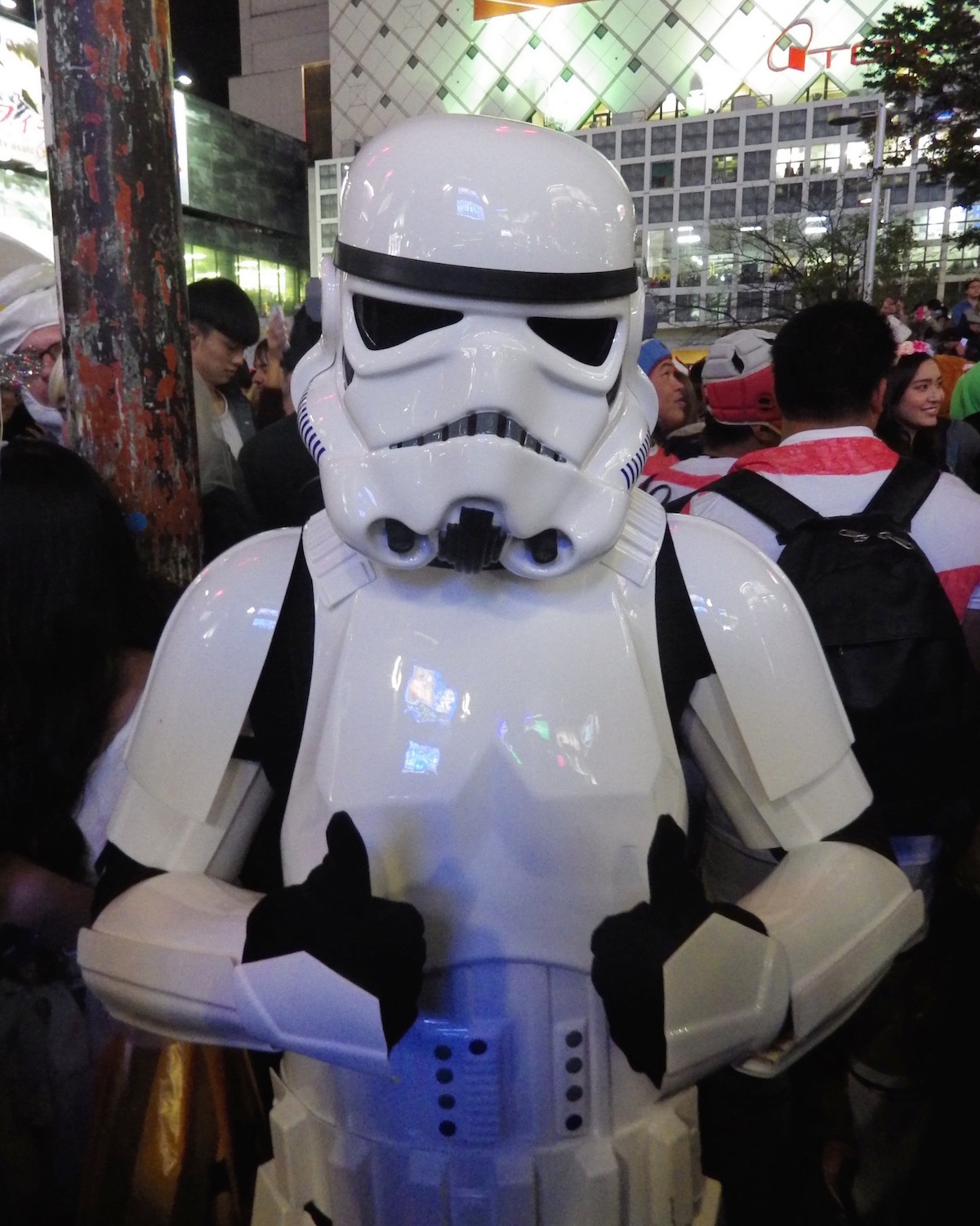 Shibuya cosplayer dressed as a Stormtrooper on Halloween Night 2015. This picture was taken right at Hachiko Crossing. Shades of Danny Choo, the original   Tokyo Dance Trooper.