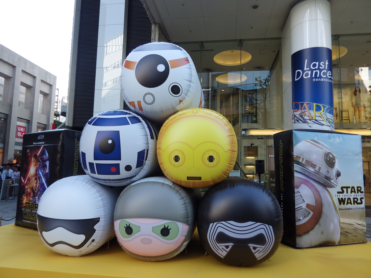 Huge inflatable Tsum Tsums outside the Parco building in Shibuya, on Star Wars Day 2016.
