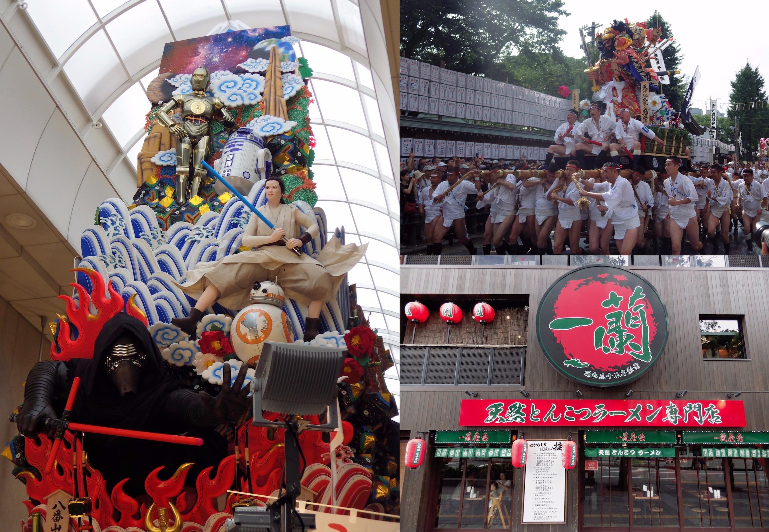 Clockwise, from left: Star Wars  kazariyama  float on display in a shopping arcade;men racing a smaller  kakiyama  float; and the main branch of the ramen chain Ichiran in Fukuoka.