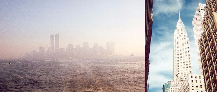 Old scanned photos of Manhattan Island and the Chrysler Building, circa 2000-2001.