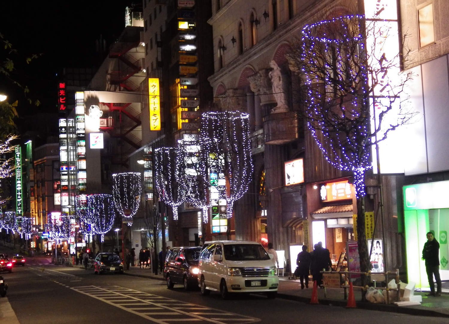 Trees illuminated like champagne glasses on Kuyakusho Dori. Golden Gai is around the corner from the Kuyakusho-mae Capsule Hotel.