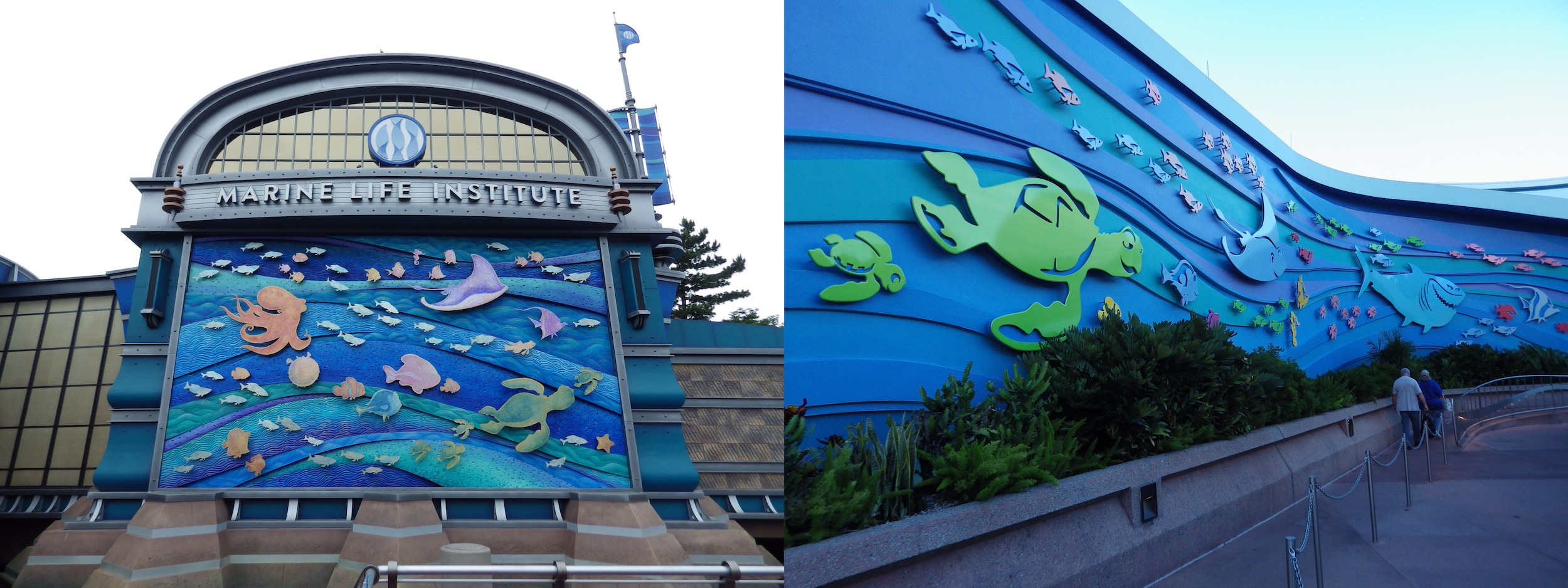 Left: mural on the Nemo & Friends SeaRider building at Tokyo DisneySea. Right: mural on The Seas with Nemo & Friends building at Epcot in Walt Disney World.