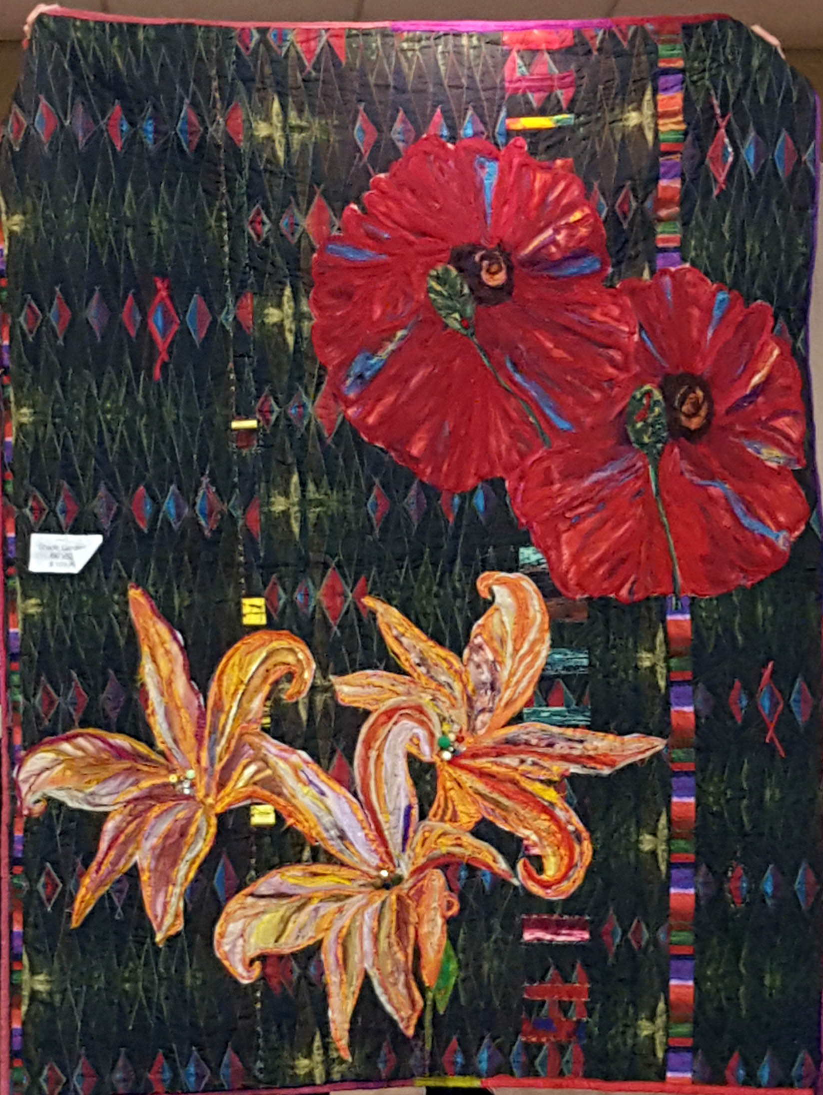 art quilt flowers appliqued on other fabric from Frond.jpg