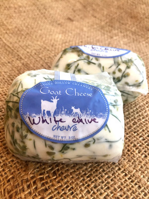 White Chive Blossom Rolled Chèvre Log / Stone Hollow Farmstead CSA