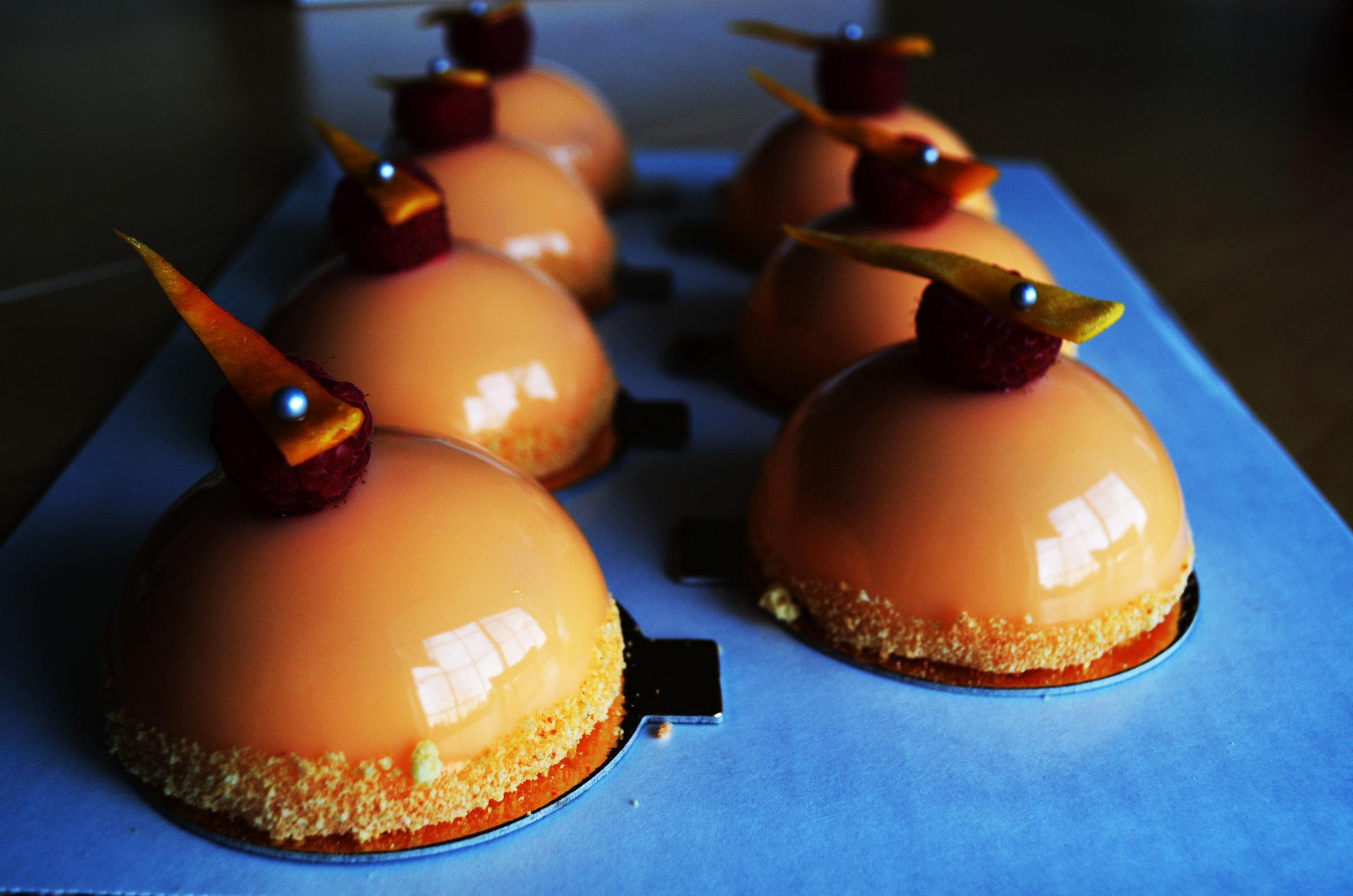 Mirror Mini Cakes, Vanilla Crust, Mango Mousse + Raspberry Filling