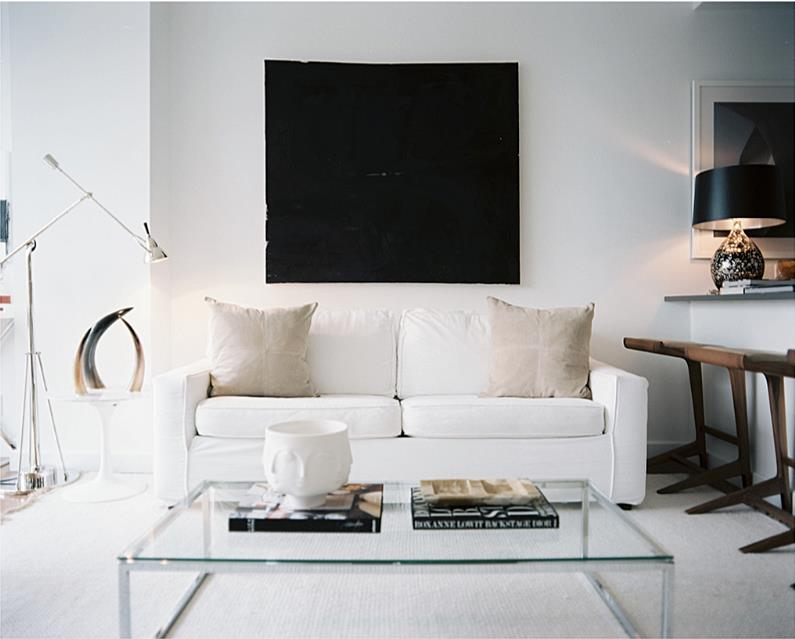 Brooklyn Apartment     Decor .  A high-rise in Brooklyn, this apartment has a pure black and white palette with rich natural materials such as bone and walnut.