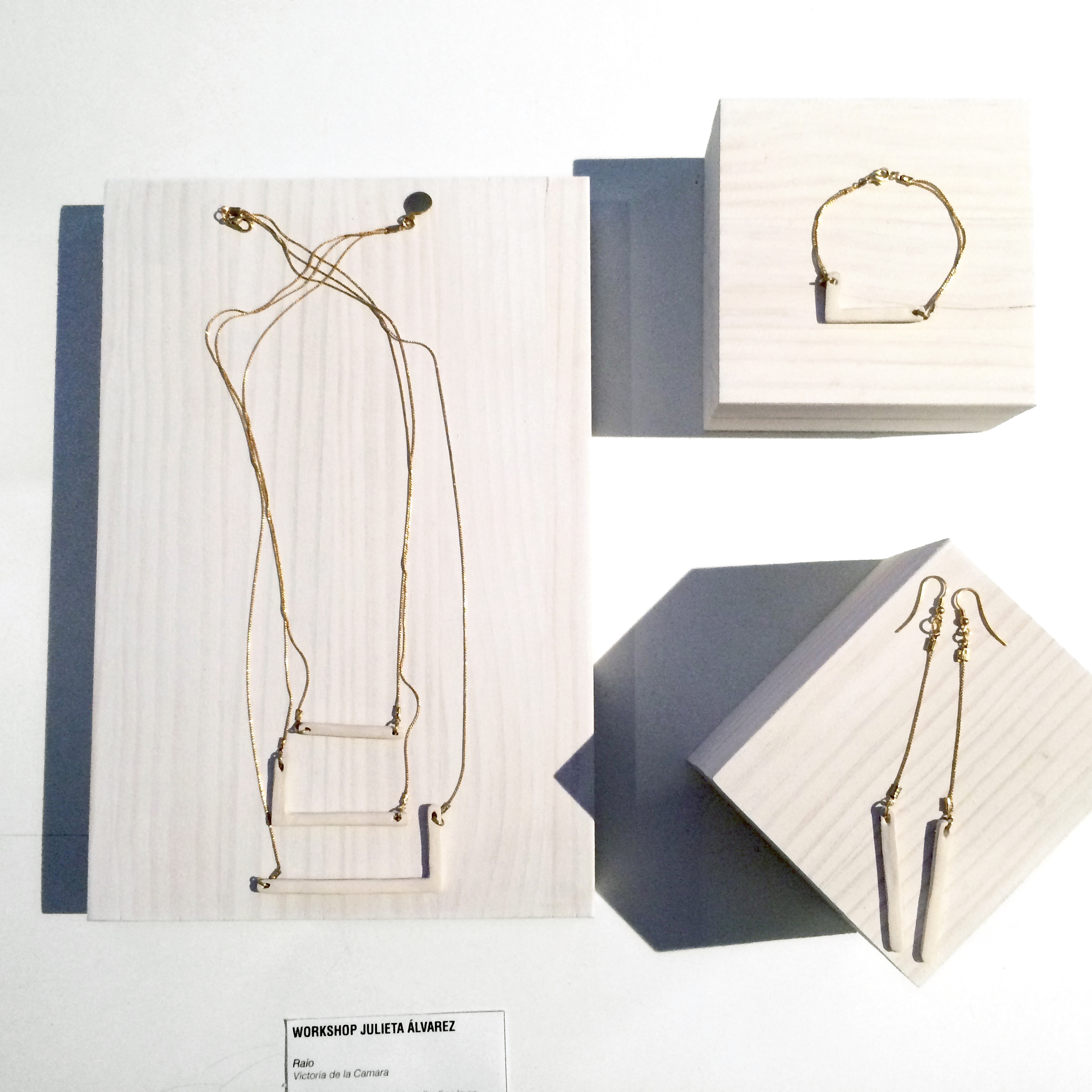 Raio Jewelry Collection     Product Design.   Working with ceramic structures, the Raio Collection is about the contrast of hard straight angles with delicate porcelain.