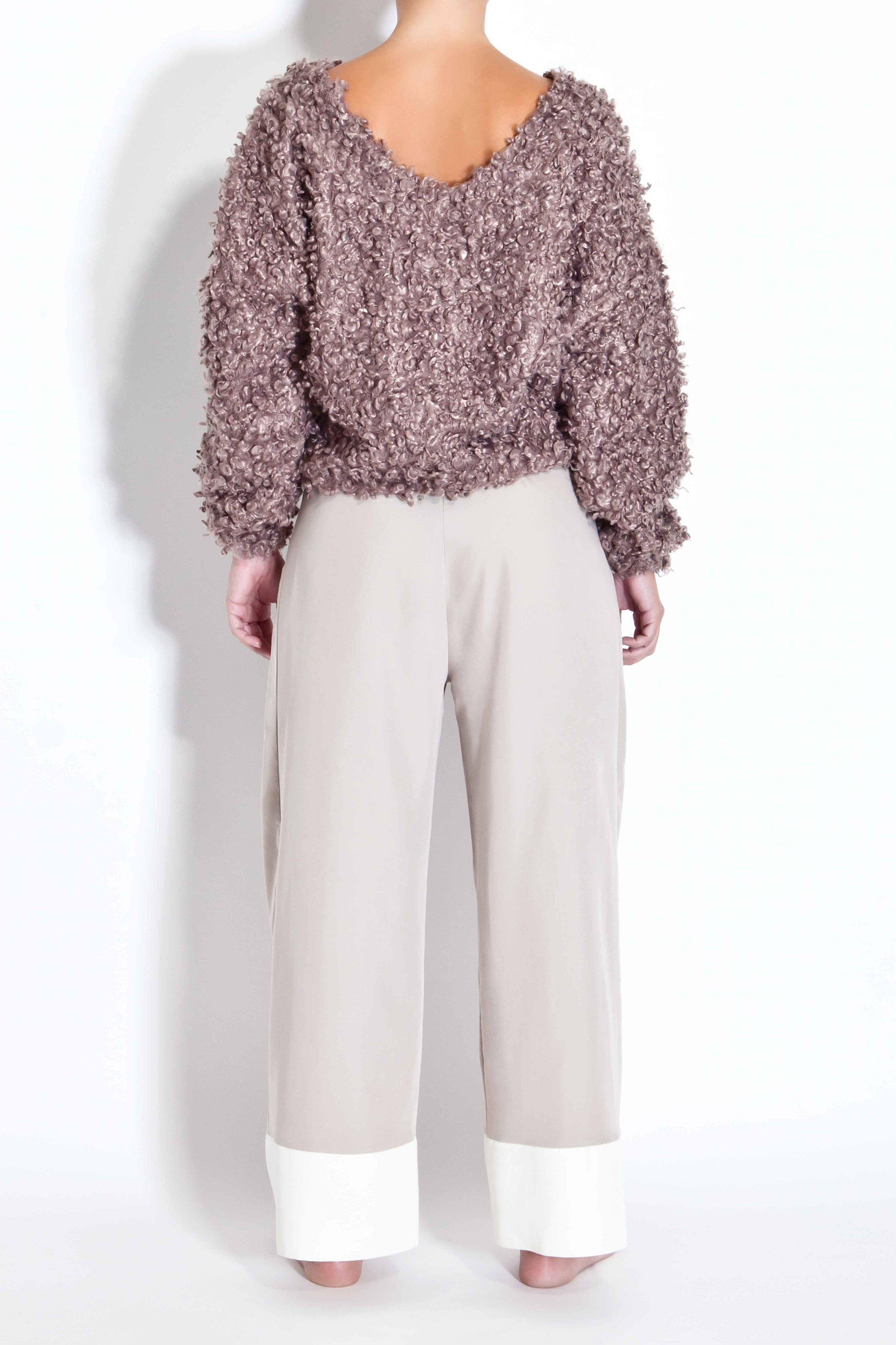Boucle sweater with open back