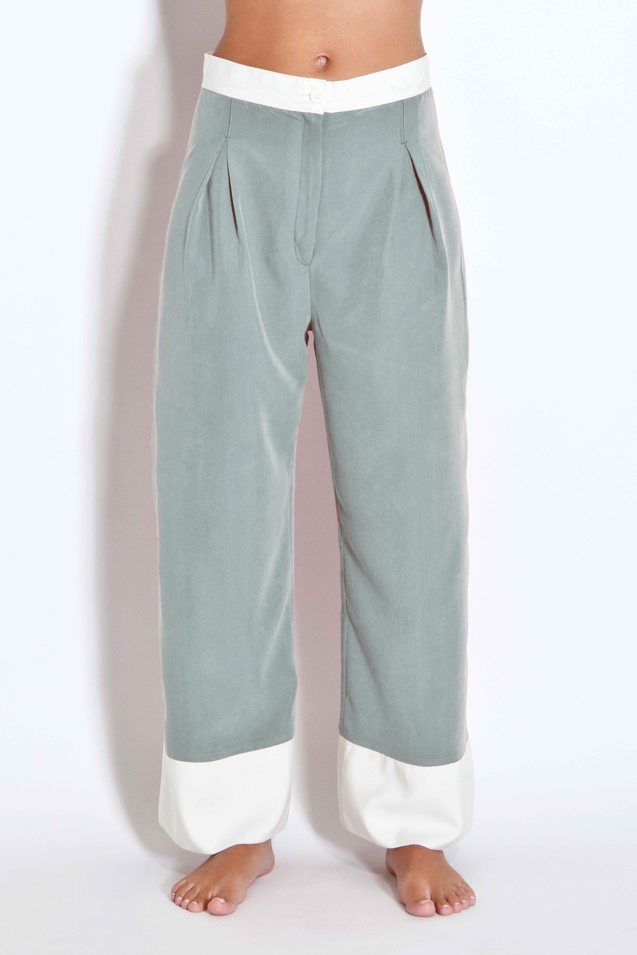 Two-toned trousers - Olive