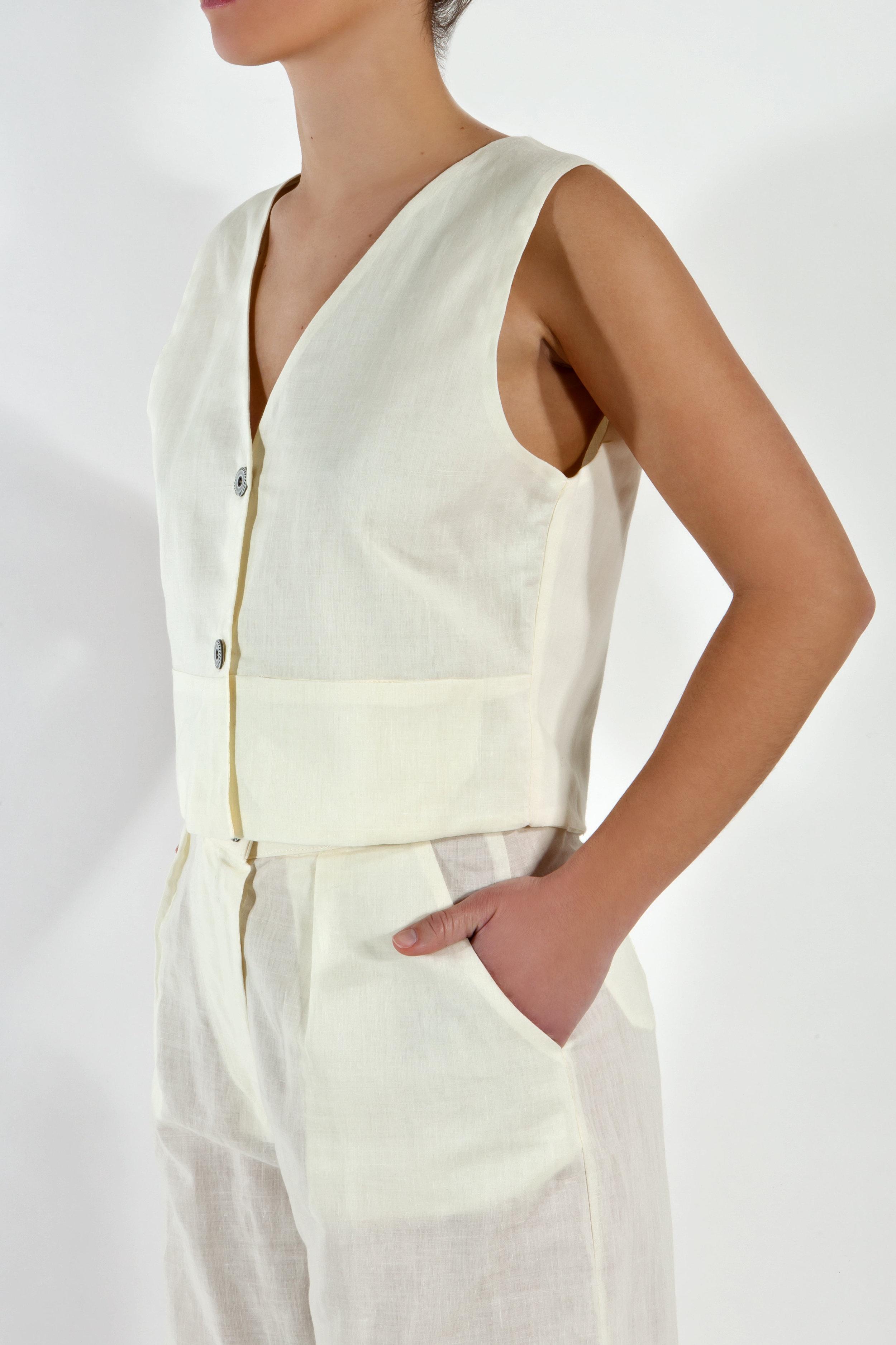 White Linen Waistcoat