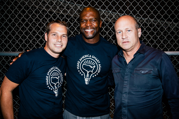 Shepard Fairey, Terry Crews and Mike Judge at the MASA/Eat|See|Hear screening of Idiocracy in LA.