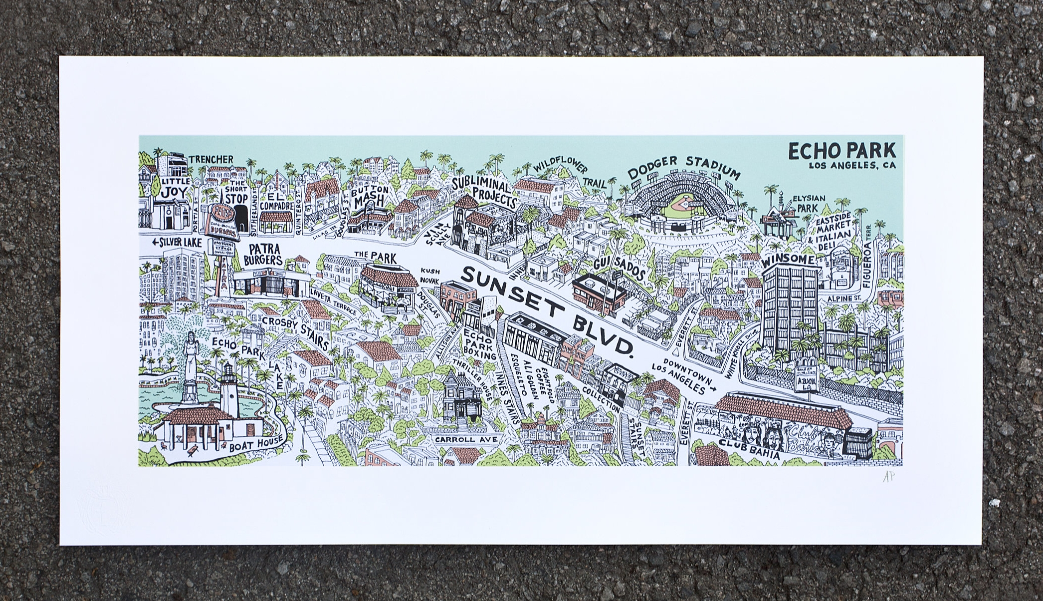 Echo Park Bridge Screenprint, 26 x 40 inches, Edition of 250 with SNO publishing chop in lower left corner.