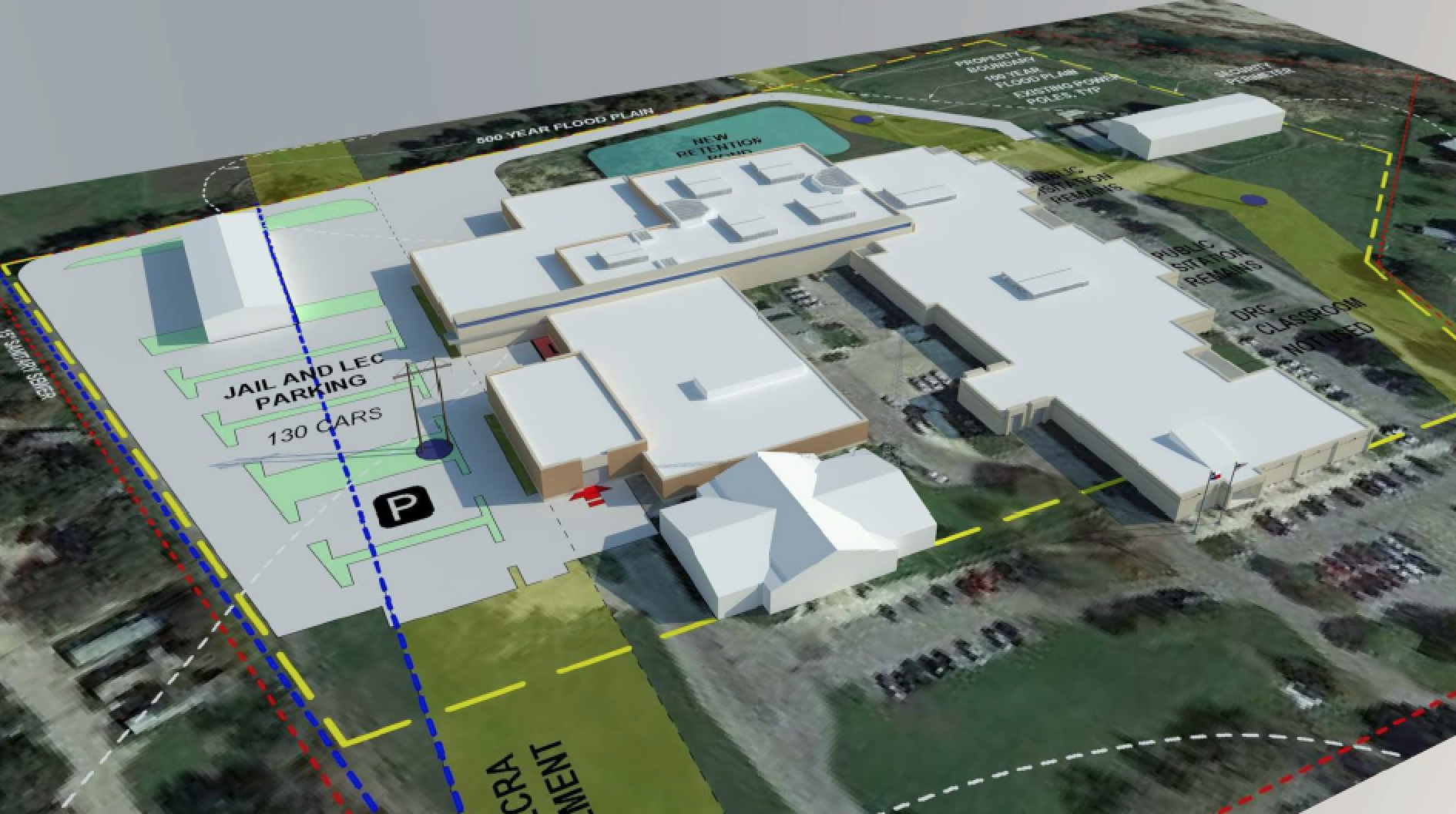 Concept image showing the proposed renovation to the existing Hays County Jail Facility
