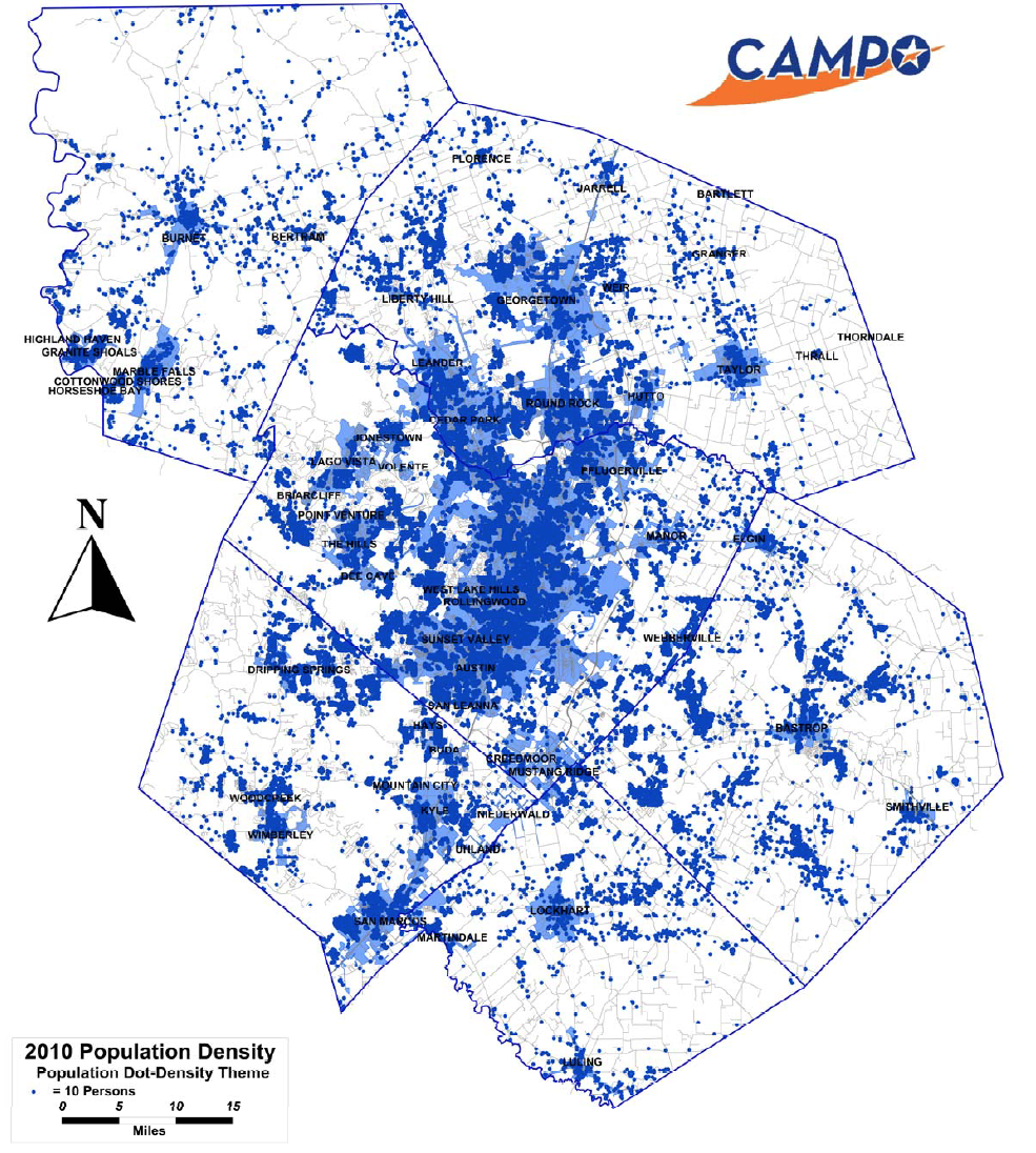 201 0 Population Dot Scatter chart from the Capital Area Metropolitan Planning Organization.