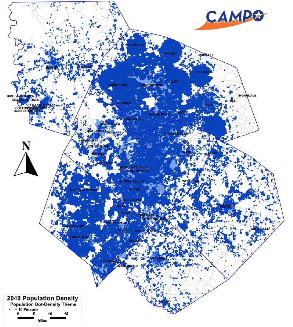2040 Projected Population Dot Scatter chart from the Capital Area Metropolitan Planning Organization.