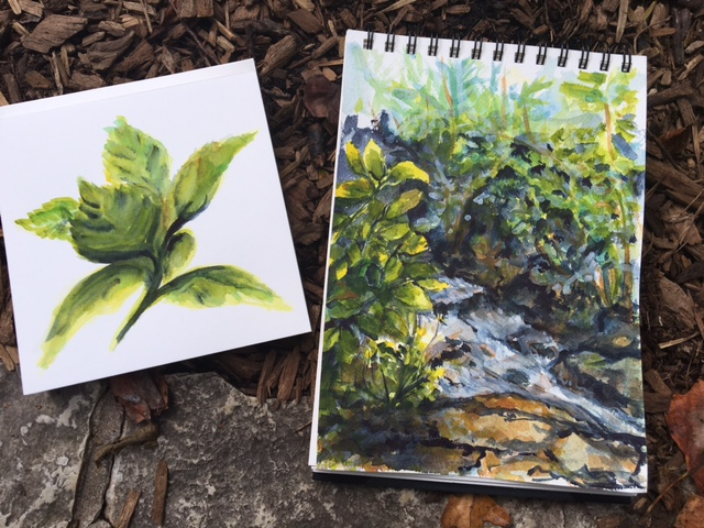 Hydrangea leaves on the left on the Portofino hot press. The stream is on the right, painted on Arches cold press paper. ©2016 by Erin Blumer.