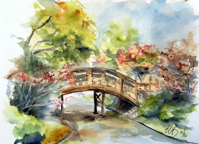 Watercolor painting of the bridge to the tea house island in the Japanese Garden on Arches cold press paper. ©2016 by Erin Blumer.