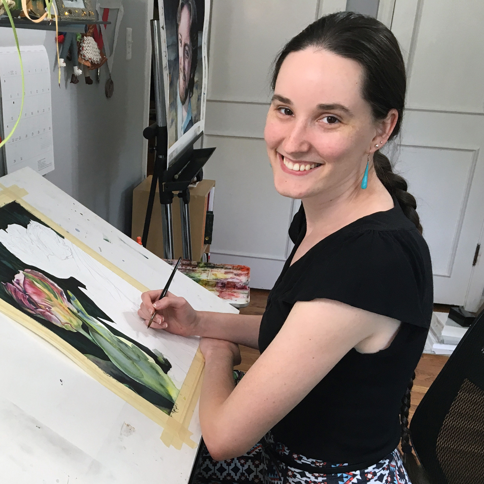 """In my studio, working on a painting of tulips I titled, """"Two Sisters""""."""