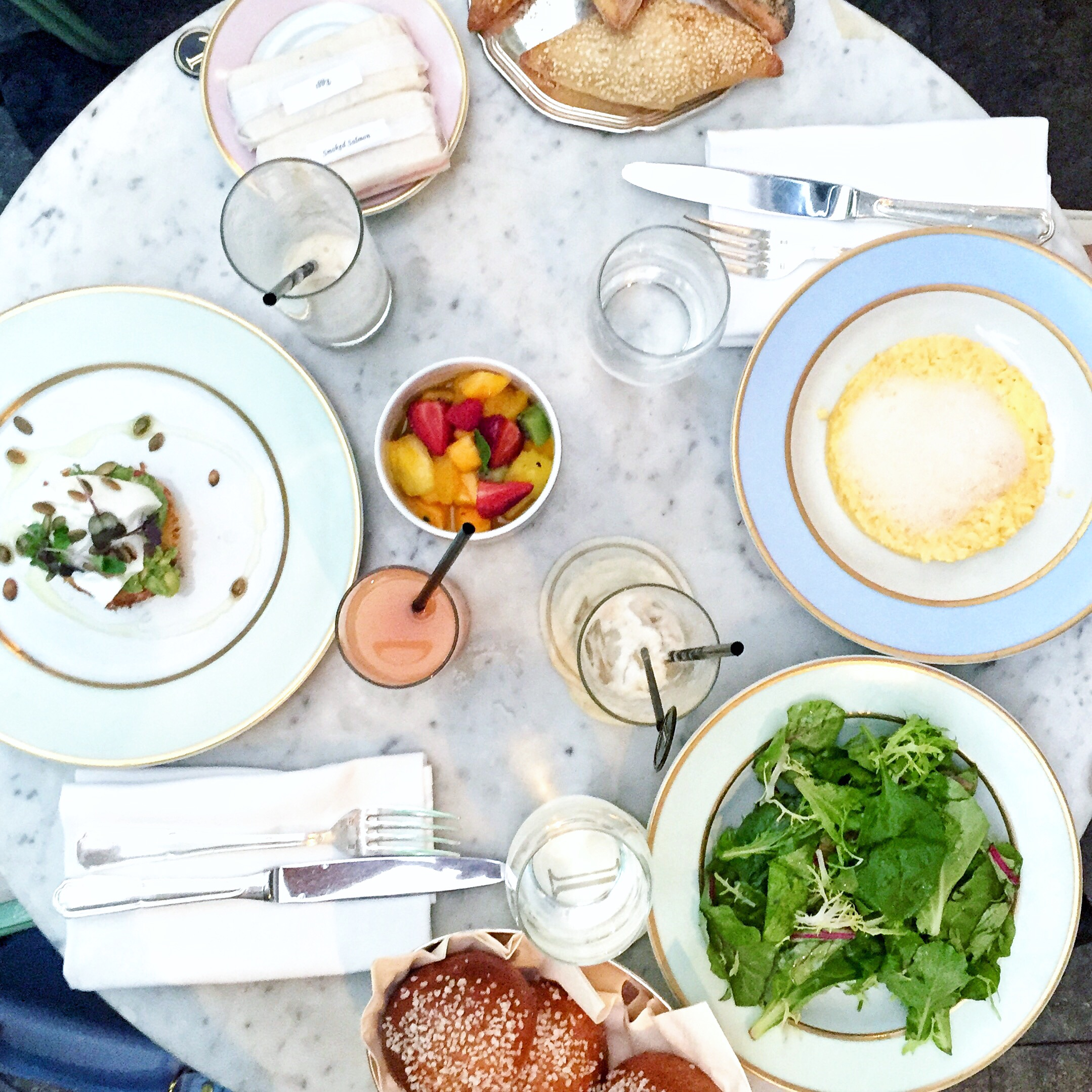 A picture is definitely worth a thousand words in this case...I mean how perfect is the spread? Poached egg over avocado toast, grapefruit juice, fruit salad and sweet rolls.